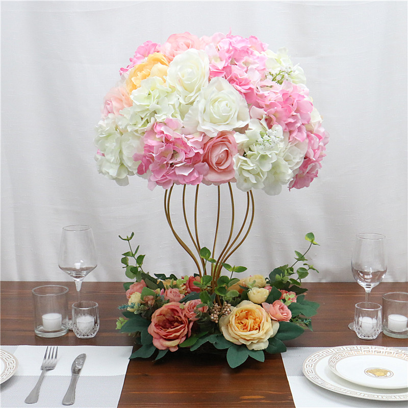 Image 4 - Customized artificial Gypsophila rose hydrangea flower ball home festival decoration wedding dining table road lead wreath 1pcArtificial & Dried Flowers   -