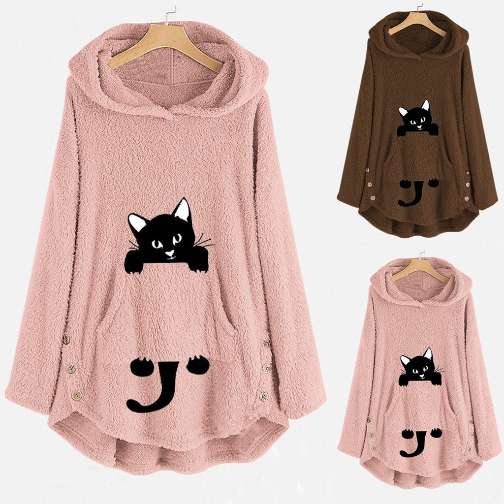 Fashion Embroidery Pullover Tops Blouse Casual Coat Womens Cat Embroidery Plus Size Warm Hoodie Top Pullover Sweatshirt Blouse