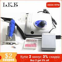 LKE 35000RPM new Strong 210 102L 65W Nail Drills Manicure Machine Pedicure Electric File Bits Nails Art Equipment Nail Treatment
