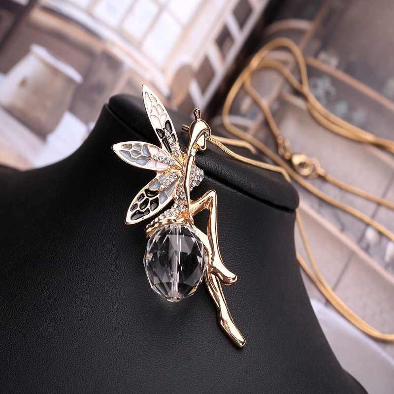 새로운 여성 크리스탈 반짝 이는 요정 라인 석 천사 날개 긴 체인 파티 펜던트 목걸이 스웨터 체인 패션 쥬얼리