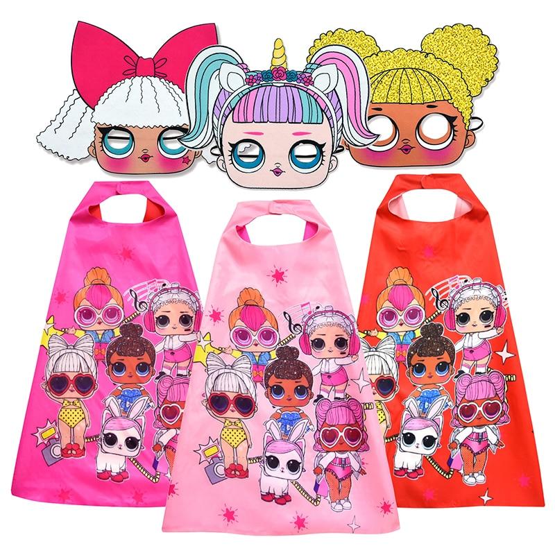 New Lol Surprise Dolls Children's Cloak Girl Cosplay Doll Cartoon Mask Cloak Birthday Party Supplies