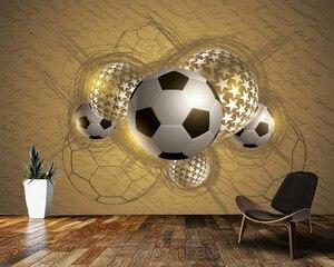 Пользовательские papel де parede infantil, Золотые футбольные фрески для детской комнаты, обои для спальни для мальчиков и девочек