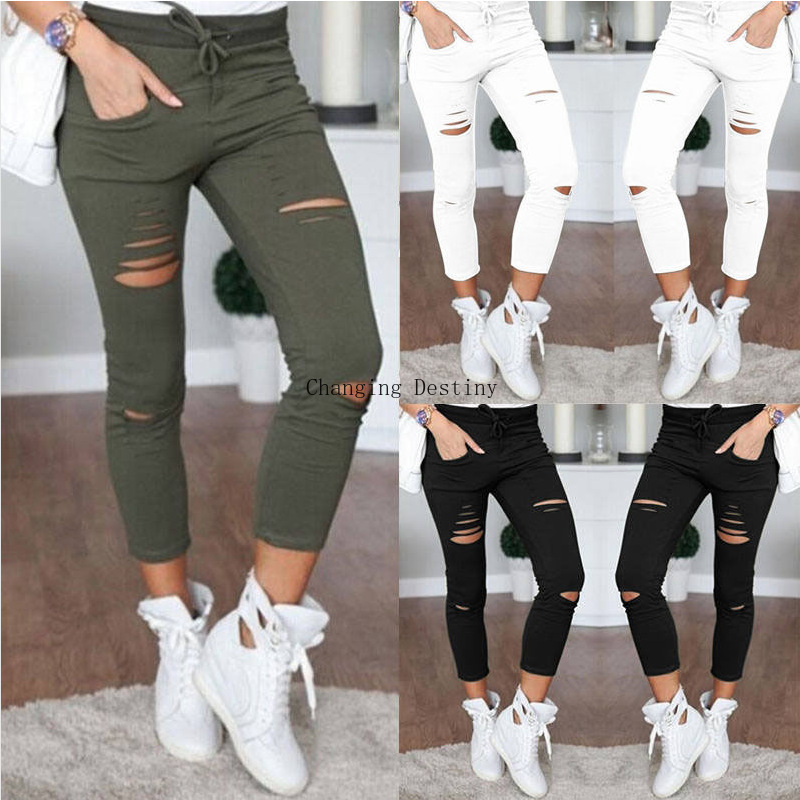 Women Europe Cotton Hole Pencil Tights Nine Points High Waist Pants Stretch Pants Hole   Jeans   Leggings Ripped   Jeans   for Woman