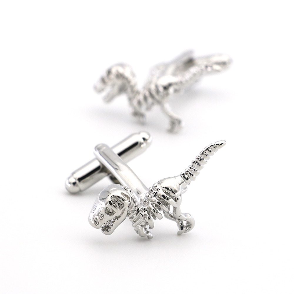 Dinosaur Cuff Links For Men Animal Design Quality Brass Material Silver Color Cufflinks Wholesale&retail