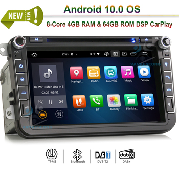 8 Android 10.0 Autoradio Car Stereo DVD for VW Golf Passat Polo Bora Seat Peugeot 307 DSP CarPlay & Auto GPS TPMS DAB+ 4G 64G image