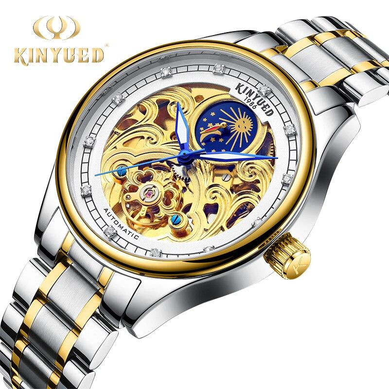 KINYUED Watches Men Top Fashion Tourbillon Automatic Mechanical Wristwatch Mens Waterproof Moon Phase Gold Clock Horloges Mannen