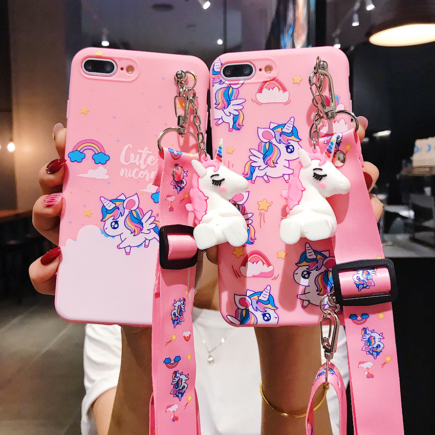 Cute Rainbow Unicorn Toy <font><b>Case</b></font> For <font><b>OPPO</b></font> A3 A5S A37 A39 A57 A71 cover For <font><b>OPPO</b></font> F5 F7 F9 <font><b>F11</b></font> <font><b>Pro</b></font> A9 2020 Reno Bracket Lanyard image