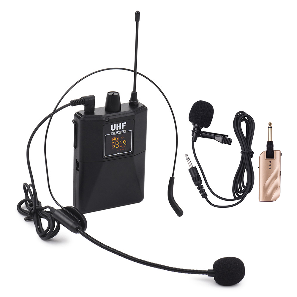 Professional UHF Wireless Microphone System Headset Lavalier Laple Mic Receiver Transmitter Radio Megaphone Clip