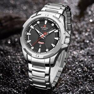 Image 4 - Часы наручные NAVIFORCE Мужские кварцевые, люксовые брендовые аналоговые водонепроницаемые из нержавеющей стали, с датой