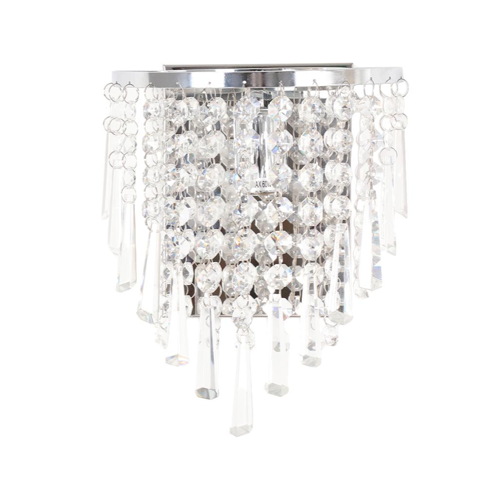 Image 3 - Modern Crystal Wall Lamp Chrome Sconce Wall Light For Living Room Bathroom Home Indoor Lighting Decoration Bulb Not IncludedLED Indoor Wall Lamps   -