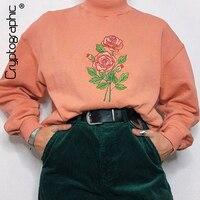Cryptographic Fashion Women's Floral Sweatshirt Solid Long Sleeve Long Turtleneck Sweatshirts Autumn Winter Clothes Harajuku
