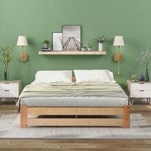 Lit en bois massif, lit de futon, lit en bois massif, lit naturel fait avec tête de lit et cadre à lattes, (200x140cm)