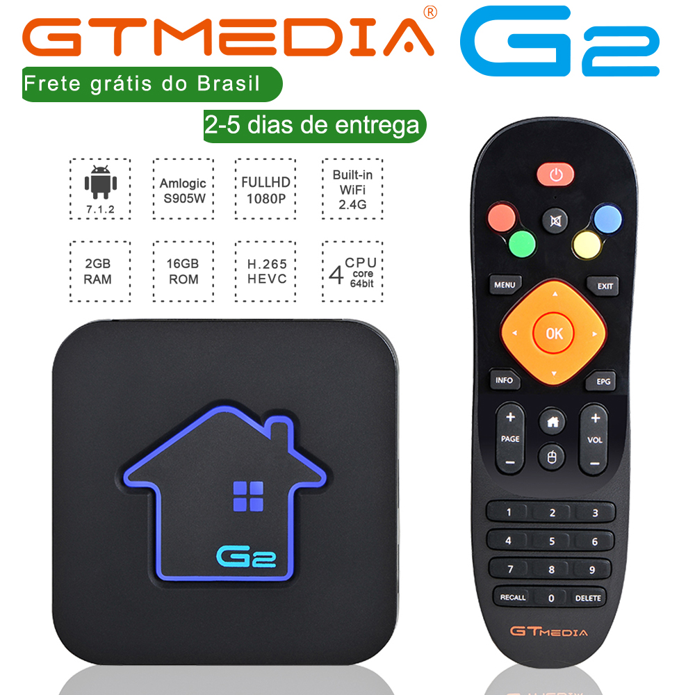 Brazilian GTmedia Android 7.1 Smart TV BOX Amlogic S905W 2G +16G Set Top Box 4K HD H.265 2.4G Wifi media player TV BOX IPTV M3U h96 max 4k ultra hd tv box