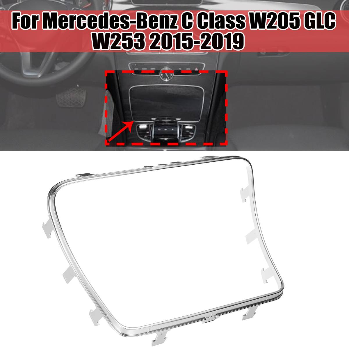 Silver <font><b>W205</b></font> Car Water Cup Holder Strip Plating Ashtray Trim Ring For <font><b>Mercedes</b></font> For Benz C Class W253 <font><b>W205</b></font> GLC200 2015-2019 image