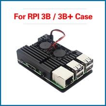 S ROBOR Raspberry Pi 3 Model B+ Aluminum Case with Dual Cooling Fan Metal Shell Black Enclosure for 3B  RPI133