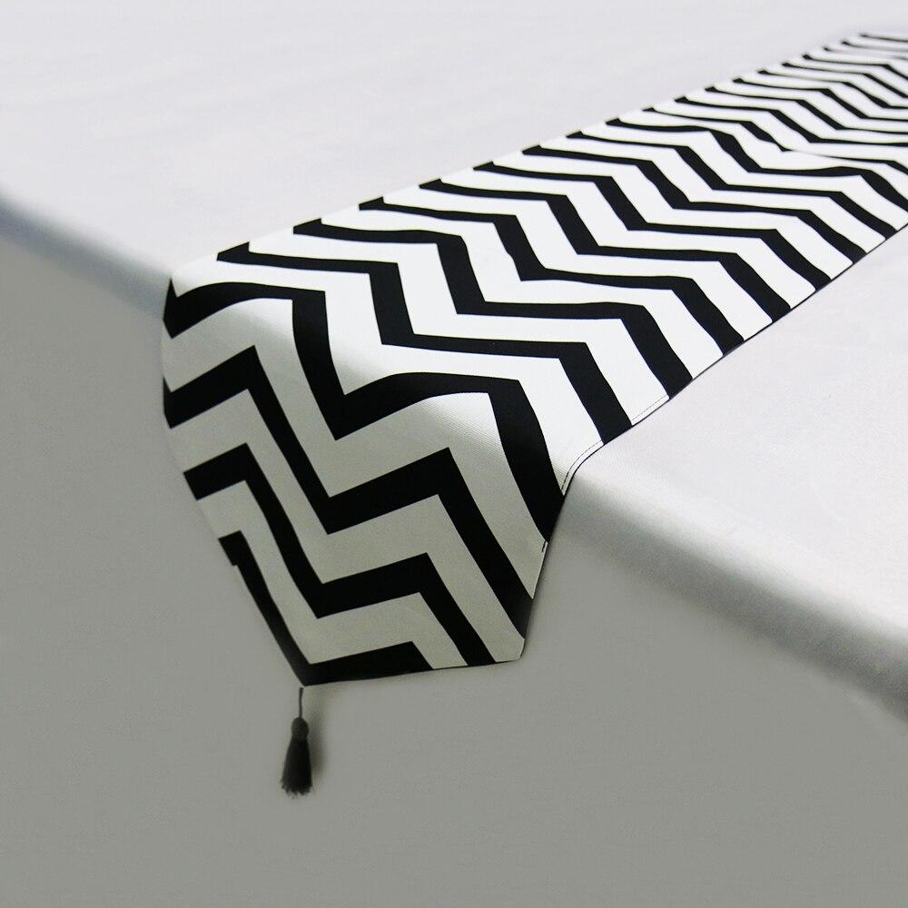 Black White Romantic Striped Table Runner Best Children's Lighting & Home Decor Online Store