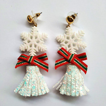 2019 Direct Selling New Arrival Tin Alloy Brinco Aretes Europe And The Christmas Ornaments Lovely Snow Long Earrings Bow