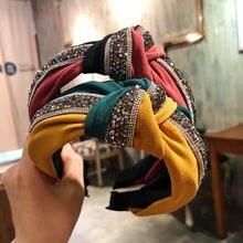 Ткань Кристальные блестящие повязки с узелком для женщин Лоскутная