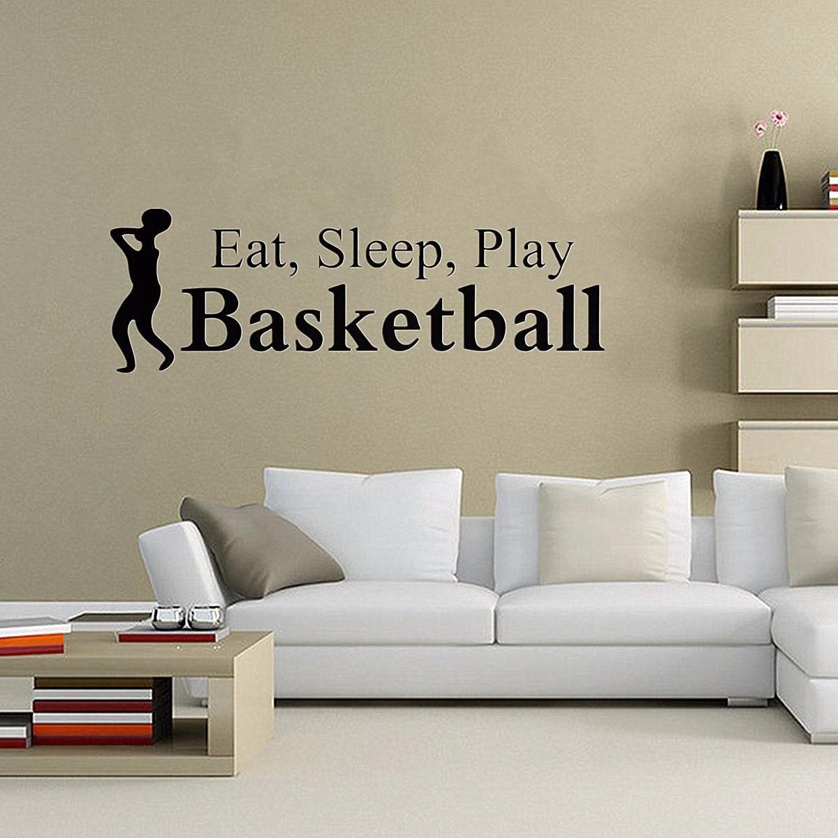 Eat Sleep Play Basketball Wall Sticker Boy Room Bedroom Home Decor Mural PVC Sticker Exquisite Art Deco Wall Sticker