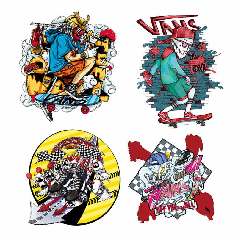 Rock Punk Schädel Patch Eisen auf Patches für Kleidung DIY T-shirt Aufkleber auf Kleidung Appliques Wärme Transfer Vinyl Hip Hop patch G