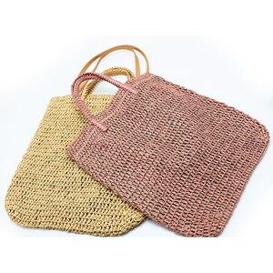 Image 1 - 직조 중공 종이 밀짚 가방 어깨 가방 여성 비치 가방, 소녀 패션 여행 가방 여성 캐주얼 토트