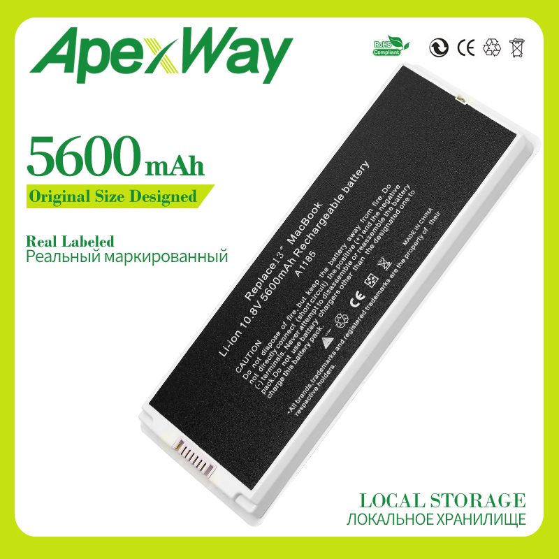 Apexway White 5600 MAh 10.8v Laptop Battery For Apple MacBook 13