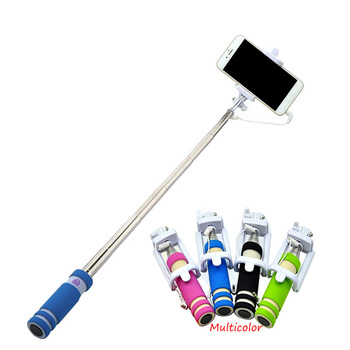 цена на Mini 5 Color Selfie Stick Wire Extendable Handheld Remote Monopod for Samsung Xiaomi Android Cell Phone