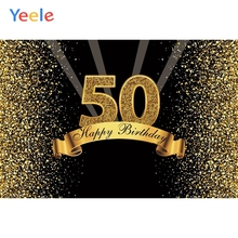 Yeele 50th Happy Birthday Party Photography Backdrops Golden Dot Flash Vinyl Custom Photographic Background For Photo Studio