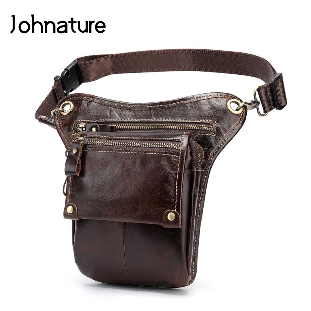 Johnature Outdoor Leisure Men Waist Bag 2020 New Genuine Leather Multi-function Belt Pouch Casual Solid Color Messenger Bag