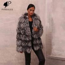 New Design Fashion Womens Fox Fur Coats Winter Thick Warm  Full Pelt Genuine Leather Jackets Handmade Clothing Coat