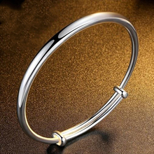 Classical Simple Fashion 925 Sterling Silver Adjustable Smooth Bracelets & Bangles Pulseras For Women Jewelry
