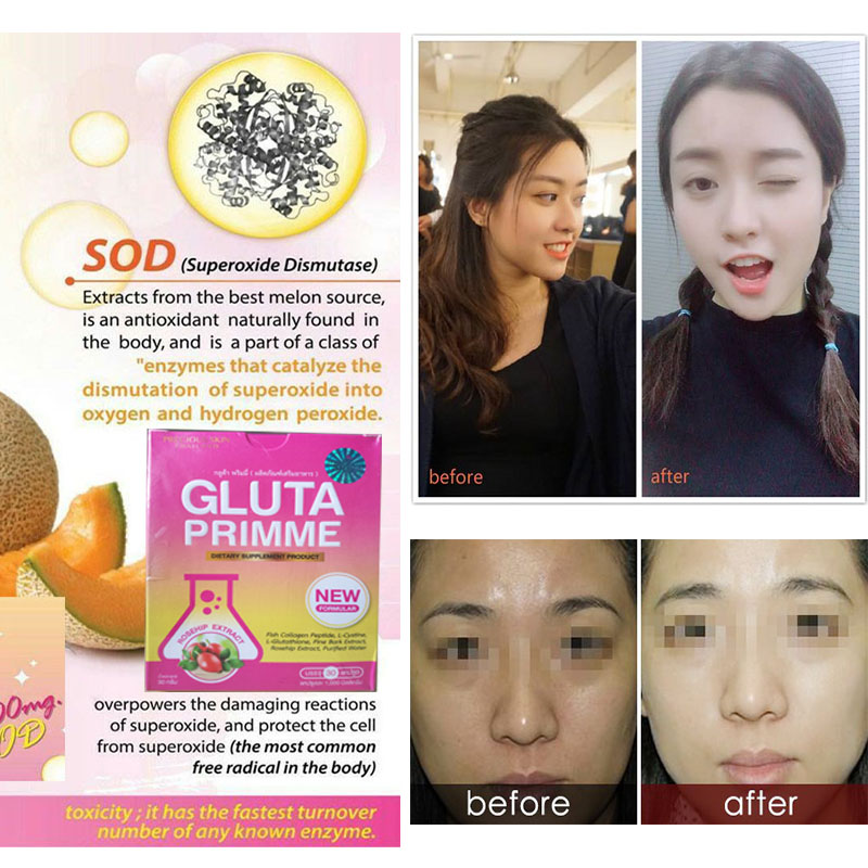 New Folmula Gluta Prime AURA Glutathione& SOD Extract Whitening Skin Anti-aging Reduce Dullness Reveal Your Most Radiant Skin 60