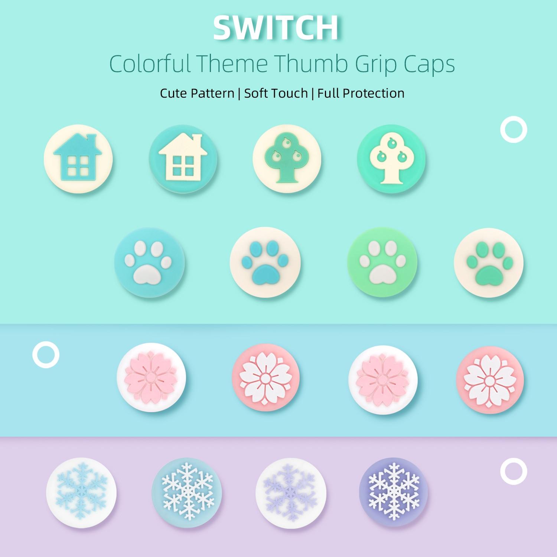 GeekShare, 4 Uds., juego de silicona Joy Con agarre para el pulgar, tapones para el Joystick, interruptor y cubierta Lite, empuñaduras analógicas para el pulgar