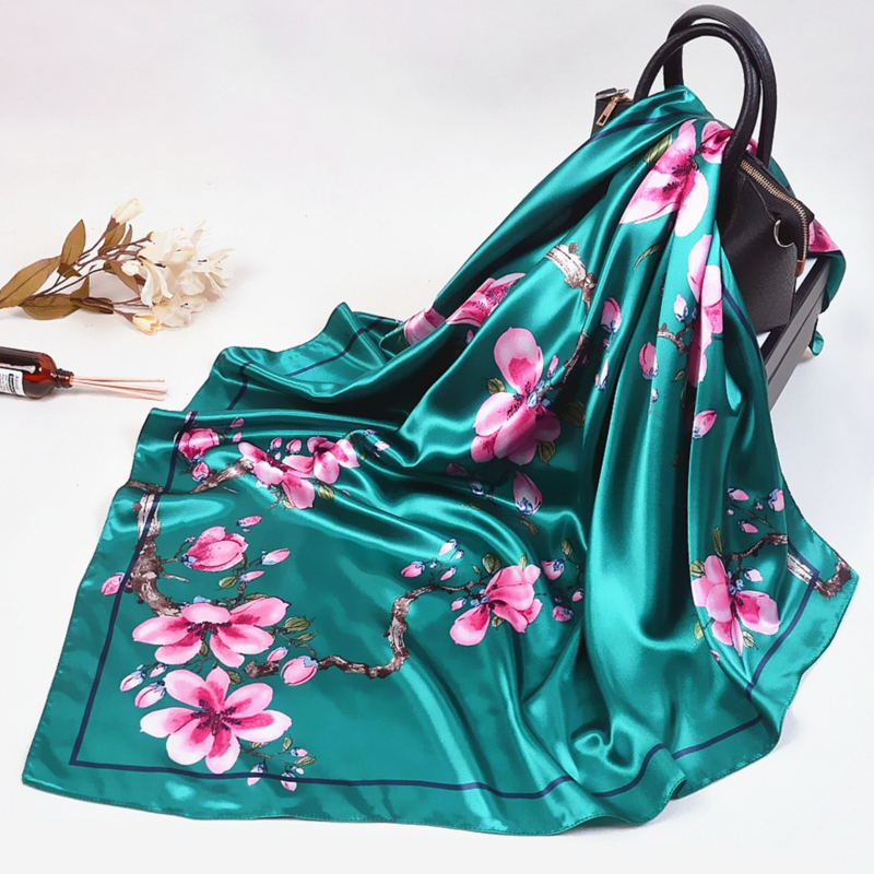2020 Silk Scarf Women Fashion Designer Beautiful flowers <font><b>Foulard</b></font> Soft Satin Shawl Scarfs Kerchief <font><b>90</b></font>*90cm Square Neck Headscarf image