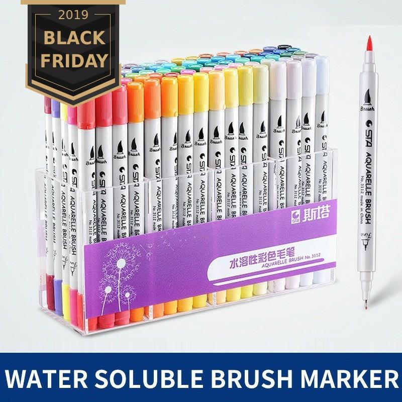 Sta 12/24/36/48/80 Colors Dual Tips Brush Marker Pen 0.4mm Fineliner Watercolor Sketch Marker Pen For Drawing Manga Art Supplies