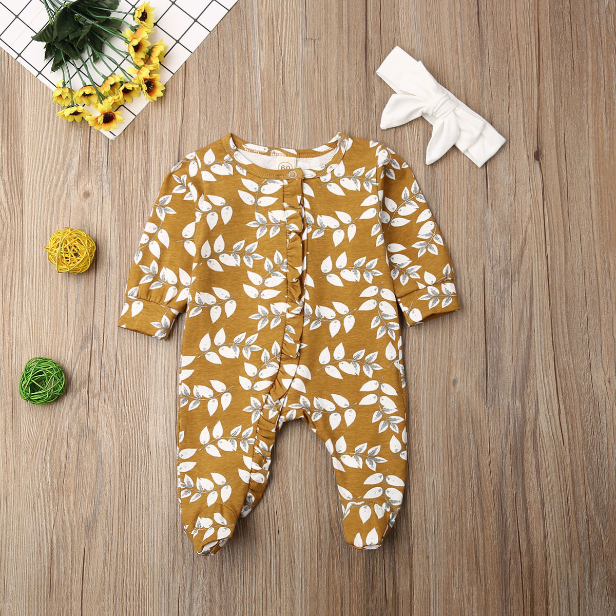 Pudcoco Newborn Baby Girl Clothes Long Sleeve Wheat Spike Print Cotton Romper Jumpsuit Headband 2Pcs OutfitS Soft Clothes Autumn