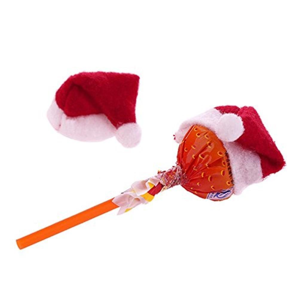 6 Pcs/set Lollipop Christmas Hat Small Mini Candy Santa DIY Hat Accessories Wedding Party Cap Decoration Gifts Lollipop Cla V0B1