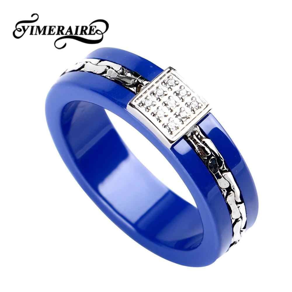 TUHE Trendy Blue Ceramic Ring For Women With Crystal Square Shaped Fashion Wedding Jewelry Healthy Ceramic And Steel Women Rings