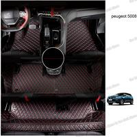 lsrtw2017 leather car floor mats for peugeot 5008 2017 2018 2019 2020 7 seats 3 rows carpet accessories interior foot mat auto