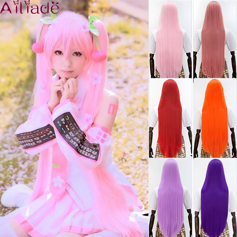 AILIADE 100cm 26 Different Colors Full Bangs Straight Long Heat Resistance Synthetic Hair Cosplay Costume Wigs