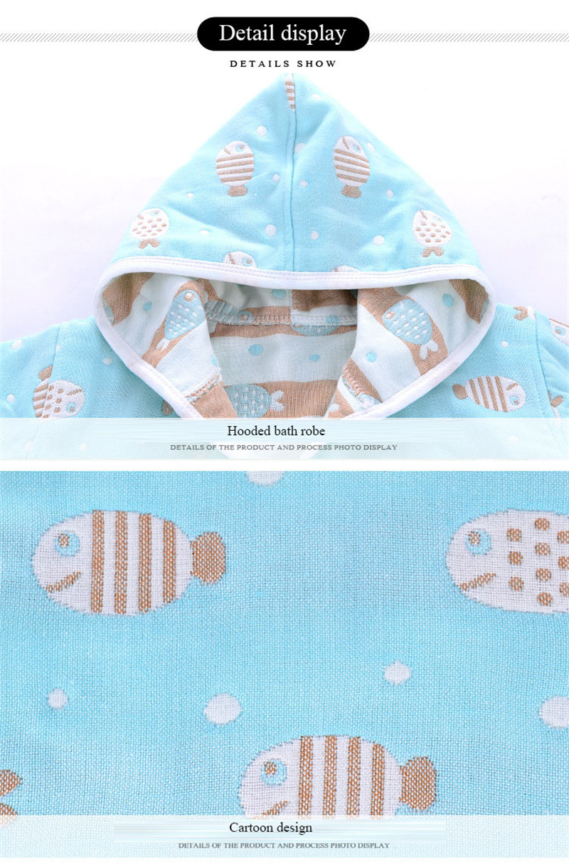 6 layers muslin cotton hooded children bathrobe gauze cotton baby kids robe pajamas bath robe boy girl nightgown baby bathrobe