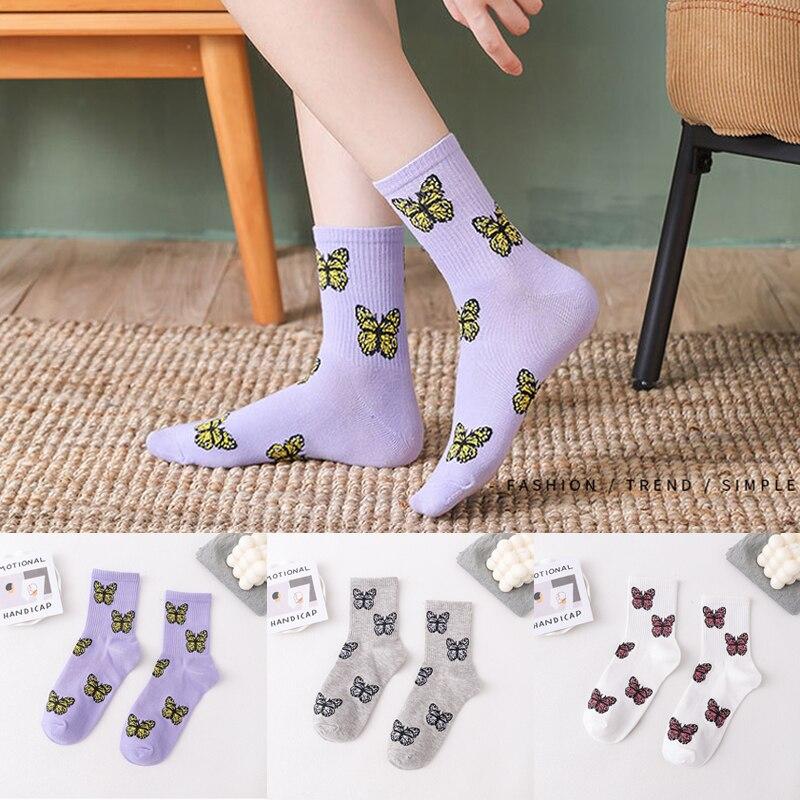 Женские носки в Корейском стиле с бабочками, носки в уличном стиле Харадзюку, женские милые женские носки, женские носки