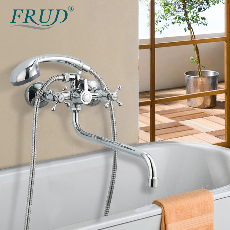 FRUD Bathroom Shower Faucet Bathtub Waterfall Hot Cold Water Mixer Tap Bath Shower Faucet Tap Wall Mount Robinet Baignoire
