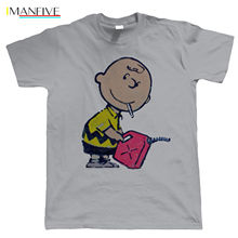 цена на Banksy Charlie Brown Smoking With Gas, T Shirt, Urban Art Hip Hop Graffiti 100% Cotton Short Sleeve O-Neck Tops Tee Shirts