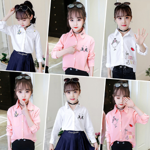 Image 3 - הגעה חדשה בנות לבן חולצה סתיו חמוד ארוך שרוולים ילדי Cartoon חולצות ילדה חולצות חתול בית ספר נער בגדי ילדי חולצות