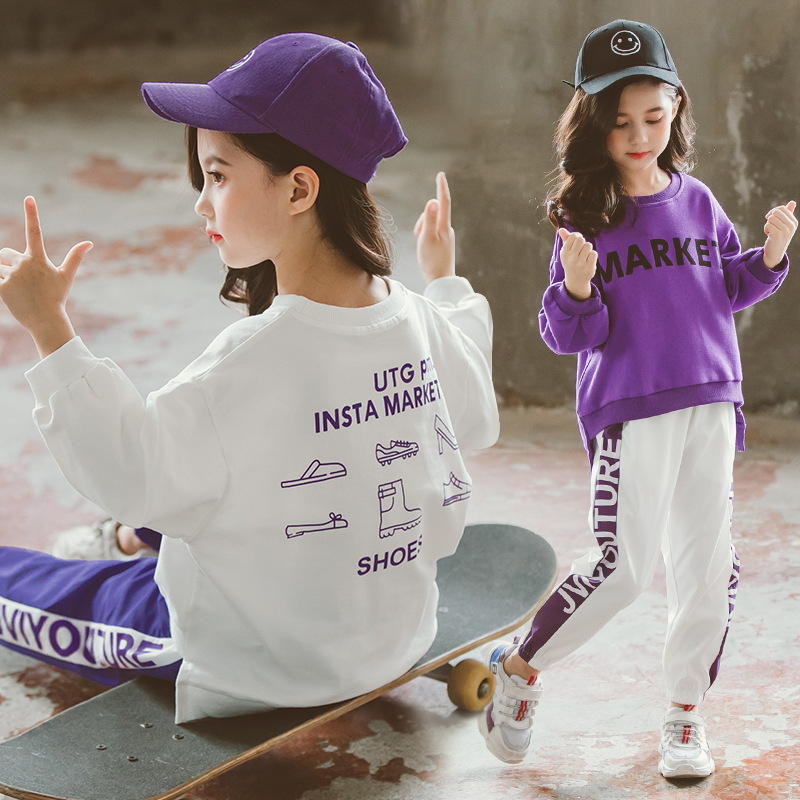 Children's Sports Suit White/Purple Letters Pullover Sweatshirt+Trousers Teenage Girls Clothes Set Casual 9 10 11 12 13 14 Years