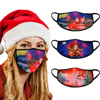 Santa Claus LED Christmas Masks Light Up Mask Snowman Cartoon Printing Christmas Glowing Masks For Men And Women Ear Loop 3PCS image