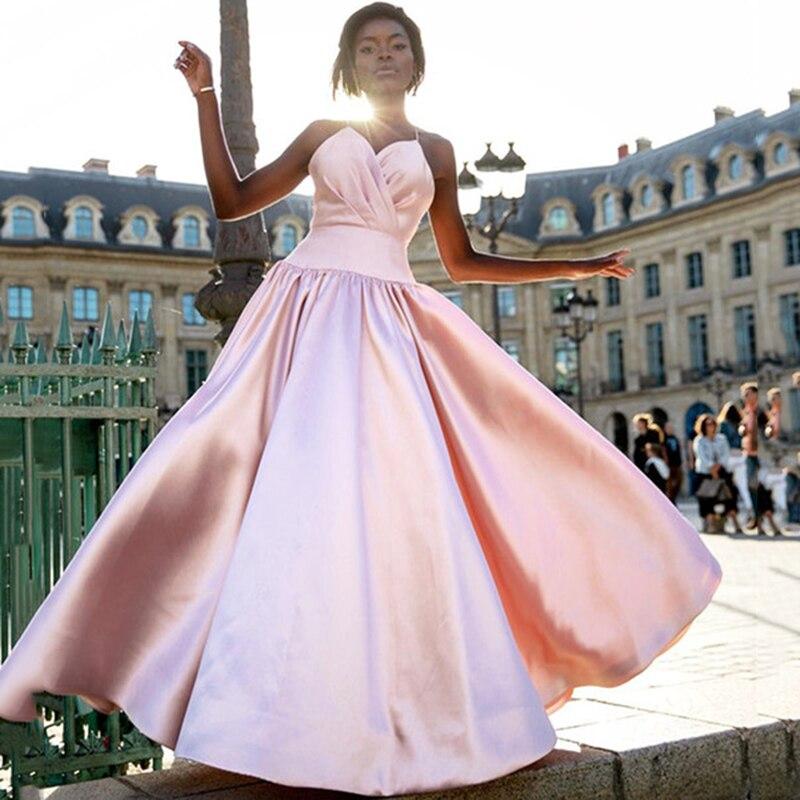 Noir filles robes de bal 2019 chérie Spaghetti agrafes rose longue Satin formelle robe de soirée élégante robe dubaï soirée