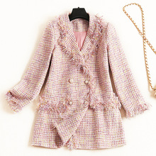 Shuchan Tweed Jacket Blazer with Tassel Turn-down Collar Double Breasted Slim  Womens Jackets and Coats Pink 2019 Fashion