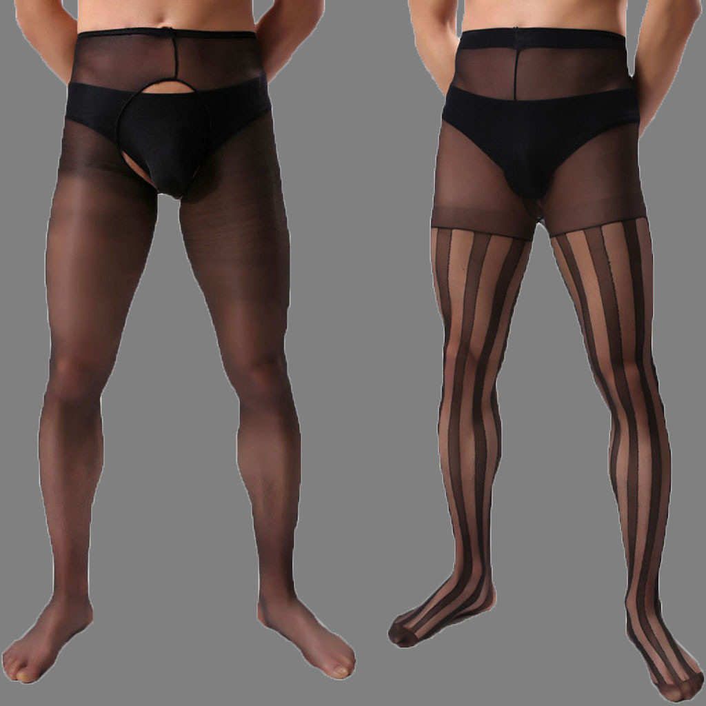 <font><b>Men's</b></font> Stocking <font><b>Sexy</b></font> <font><b>Lingerie</b></font> Hot Erotic <font><b>Mens</b></font> Pantyhose Crotchless Leg Stocking Porno Pantyhose For <font><b>Men</b></font> Exotic Apparel Stockings image